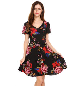 Black Vintage Floral Fit and Flare Dress