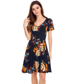 Navy Vintage Floral Fit and Flare Dress