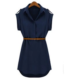 Navy Blue Shirt Mini Dress