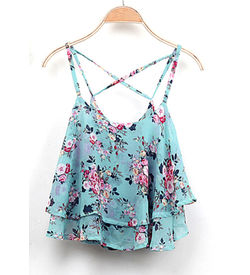 Blue Floral Chiffon Top