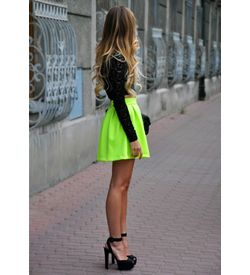 Flourescent Pleated Mini Skirt