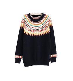black Neck Print Sweater