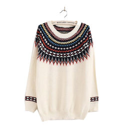 White Neck Print Sweater