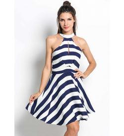 Striped Monochrome Skater Dress