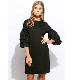 Black Ruffle Mini Dress