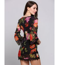 Floral Bell Sleeves Dress
