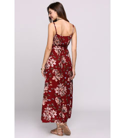 Red Floral Boho Maxi Dress