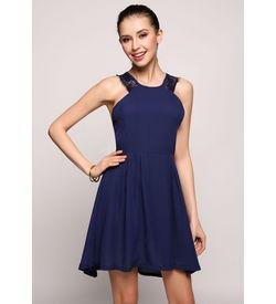Blue Halter Lace Detail Dress