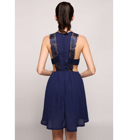 Blue Halter Lace Detail Dress