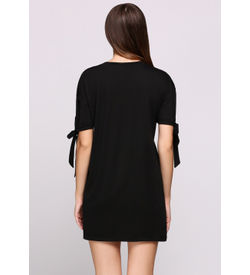 Black Bow Sleeves T-Shirt Dress