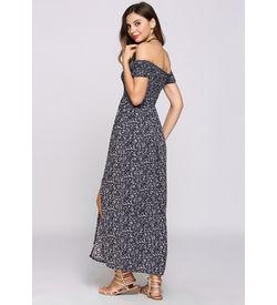 Blue Boho Floral Off-Shoulder Dress