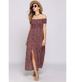 Burgundy Boho Floral Off-Shoulder Dress