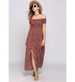 Red Boho Floral Off-Shoulder Dress