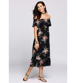 black Off-Shoulder Ruffle Floral Maxi