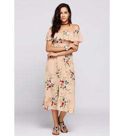 Apricot Off-Shoulder Ruffle Floral Maxi