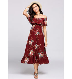 Red Off-Shoulder Ruffle Floral Maxi