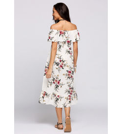 White Off-Shoulder Ruffle Floral Maxi