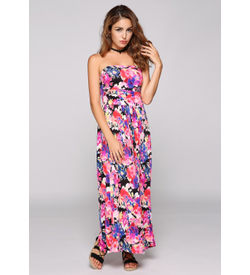 Strapless Ruched Floral Maxi