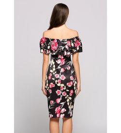 Black Floral Off-Shoulder Dress