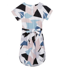 Geometric Print Belted Dress