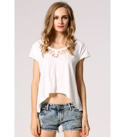 White Cutwork Top
