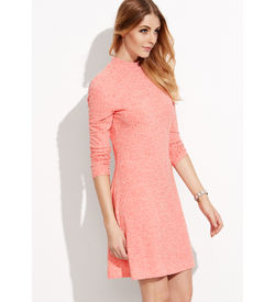 Pink Ribbed Long Sleeves dress