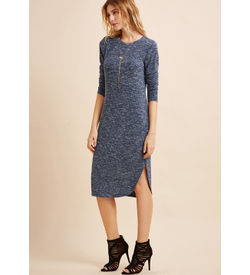 Navy Marled Curved hem Dress