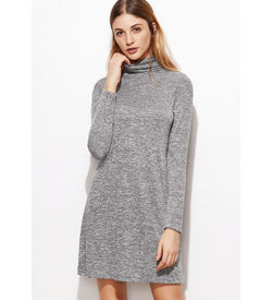 Grey Cowl Neck Shift  dress
