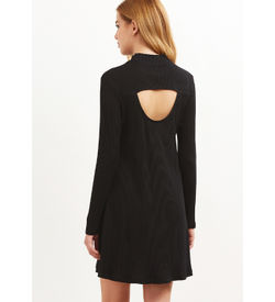 Black Ribbed Swing Dress