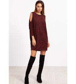 Burgundy Marled Cold Shoulder Dress