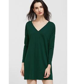 Green V-Neck Swing Dress