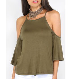 Cold Shoulder Drape Top