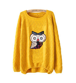 Mustard Owl Sweater