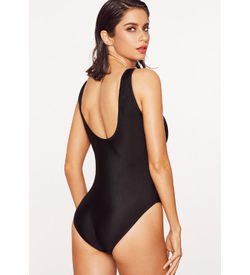 Black Letter Print Swimsuit