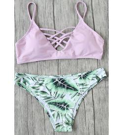 Pink Leaf Print Mix Match Bikini