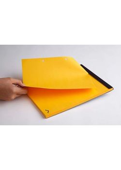 Rubberband B5 Yellow Plain Notepad Black Card Cover 70 Sheets