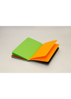 Rubberband Paint Box Series 95 X 165Mm Notebook Black Pu Multi Colour Plain With 192 Pages