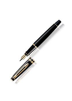 Waterman Fountain Pen Glossy Black Gt Expert Steel With Fine Gold Plated Medium Nib