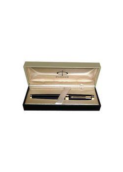 Parker Premium Fountain Pen Black Lacquered Gt Ambient Steel Medium Nib