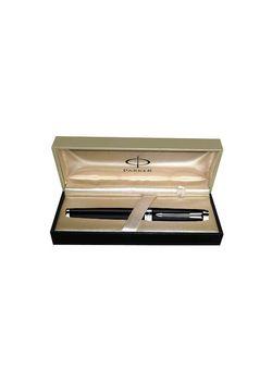 Parker Premium Fountain Pen Black Lacquered Ct Ambient Steel Medium Nib