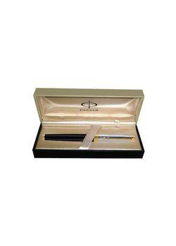 Parker Premium Fountain Pen Deluxe Black Gt Ambient Steel Medium Nib