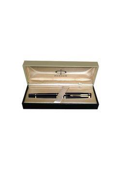 Parker Premium Fountain Pen Black Lacquered Gt Ellipse Steel Medium Nib