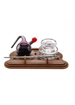 Rubinato Calligraphy Set 7644 Hand Blown Glass Ink Bottle and Ink Pot Quill Pen