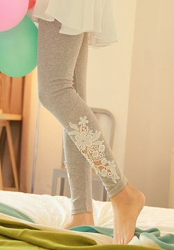 Grey Lace Detail Leggings