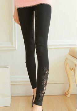 Black Lace Detail Leggings
