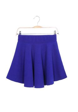 Blue Pleated Mini Skirt