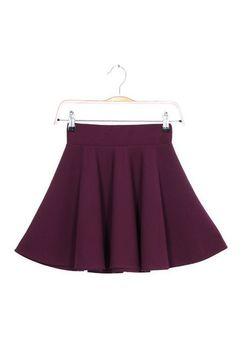 Purple Pleated Mini Skirt