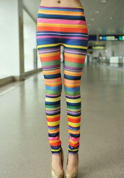 Multicolour stripe leggings