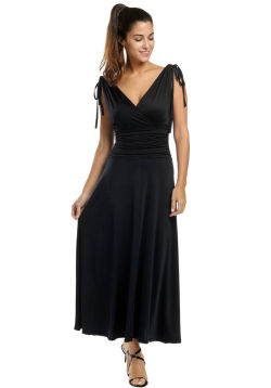 Black Gathered Maxi