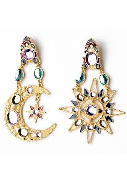 Moon Star Chandelier Earrings